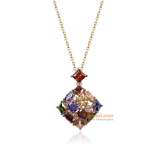 Дамско Колие Многоцветни Кристали Циркон Златно Покритие
