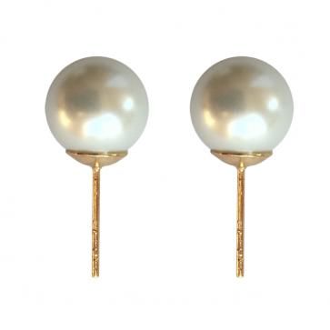 """Дамски обеци """"Роксана"""" с бели перли и жълто златно покритие"""