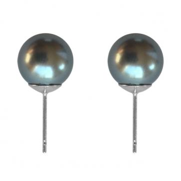 """Дамски обеци """"Антония"""" със сива перла и бяло златно покритие"""