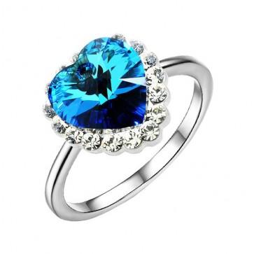 """Нежен дамски пръстен """"Сърцето на Океана"""" със сини австрийски кристали"""