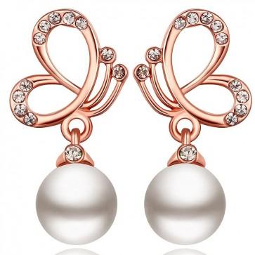 Дамски обеци с бяла перла и розово златно покритие