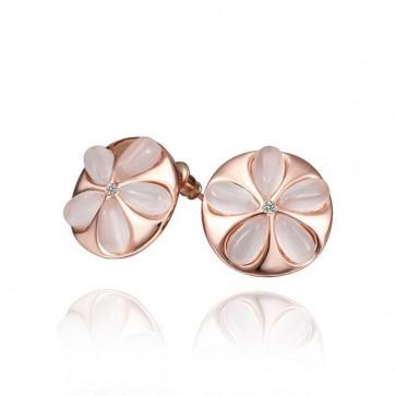Дамски обеци с бял опал и розово златно покритие