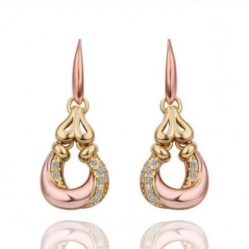 Дамски обеци с австрийски кристали и розово златно покритие. Код: BV250