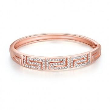 """Дамска гривна """"Лъки"""" с австрийски кристали и розово златно покритие"""