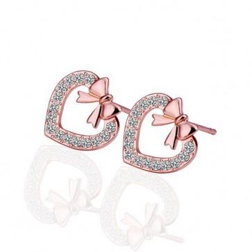 """Дамски обеци """"Сърца и Панделки"""" с австрийски кристали и розово златно покритие"""