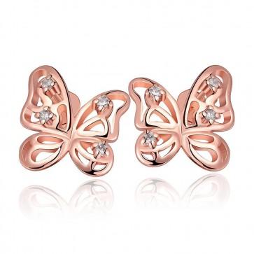 Дамски обеци с бeли циркониеви кристали и розово златно покритие