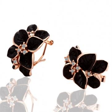 Романтични дамски обеци с австрийски кристали и розово златно покритие