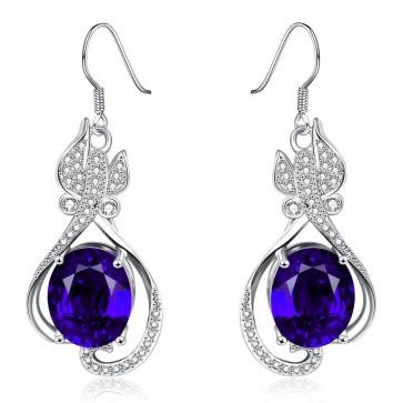 Дамски обеци със сини кристали циркон и покритие от платина