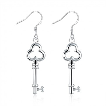 Дамски обеци във форма на ключ със сребърно покритие проба 925