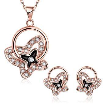 Комплект бижута за дами, колие и обеци с 18 карата розово златно покритие и кристали CZ циркон. Код: SF174.