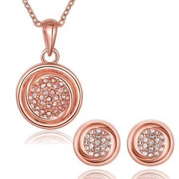 Комплект дамски бижута от колие и обеци с 18 карата розово златно покритие и австрийски кристали. Код: SF197.