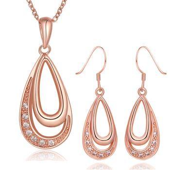Комплект дамски бижута, колие и обеци с 18К розово златно покритие и австрийски кристали. Код: SF213