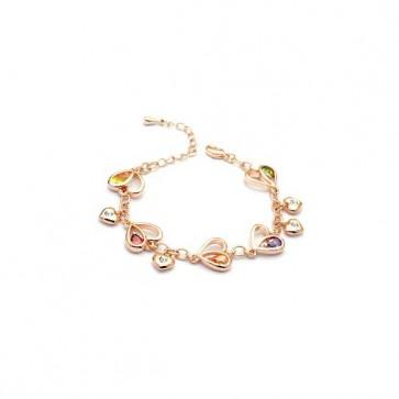 Дамска гривна с разноцветни австрийски кристали и розово златно покритие