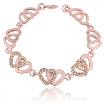 "Дамска гривна ""Amour"" с австрийски кристали и розово златно покритие"