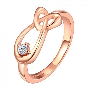 """Дамски пръстен """"Златно Сърце"""" с кристал CZ циркон и 18К златно покритие"""
