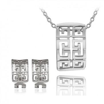 Комплект дамски бижута, колие и обеци с австрийски кристали и бяло златно покритие
