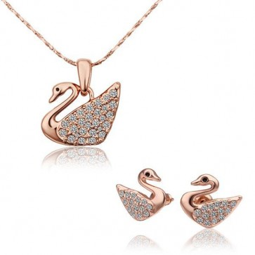 """Комплект дамски бижута """"Swan"""", колие и обеци с розово златно покритие"""