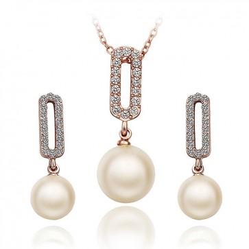 Комплект дамски бижута, колие и обеци с перли и златно покритие