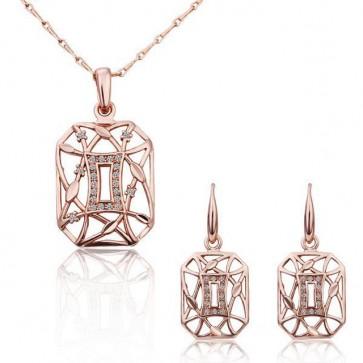 Комплект дамски бижута, колие и обеци с австрийски кристали и розово златно покритие
