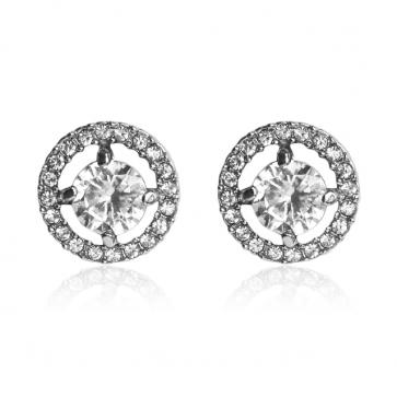 Дамски обеци с бели кристали циркон и 18К златно покритие. Код: BV216.