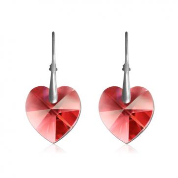 Висящи дамски обеци във форма на сърца с червени кристали Сваровски
