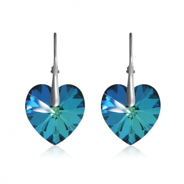 """Висящи дамски обеци """"Bermuda Blue Heart"""" със сини кристали Сваровски"""