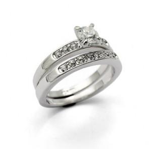 Дамски пръстен от две части с бели кристали циркон