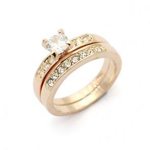 Дамски пръстен от две части с камъни CZ Циркон и 18К златно покритие