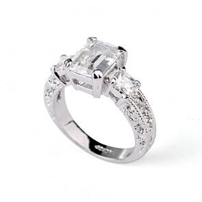 Изящен дамски пръстен с бял кристал CZ Циркон и бяло златно покритие