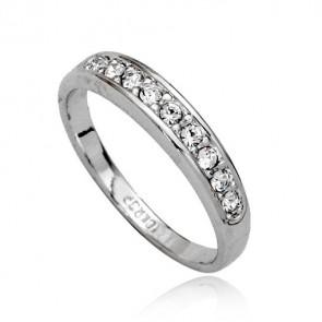 Дамски пръстен с бели австрийски кристали и  златно покритие
