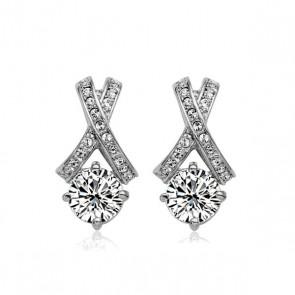 """Дамски обеци """"Желая теб"""" с бели австрийски кристали"""