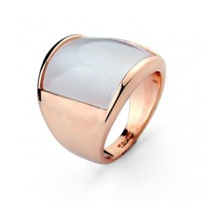 Масивен дамски пръстен с опал и  розово златно покритие