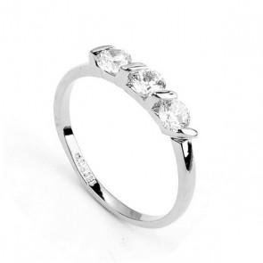 """Дамски пръстен  """"Звездна нощ Silver"""" с бели кристали циркон"""