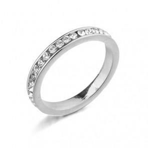 Нежен дамски пръстен с бели австрийски кристали и бяло златно покритие