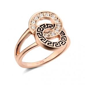 """Дамски пръстен """"Огнен плам"""" с австрийски кристали и 18К розово златно покритие"""
