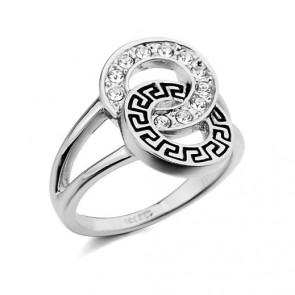 """Дамски пръстен """"Огнен плам"""" с австрийски кристали и бяло златно покритие"""