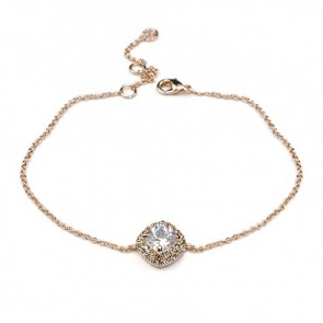 Дамска гривна с бели кристали CZ Цирконий и розово златно покритие