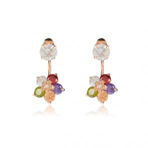 """Дамски обеци """"Аида"""" с многоцветни кристали циркон и розово златно покритие"""