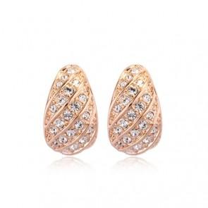 """Обеци за дами """"Морска Прелест"""" с бели австрийски кристали и златно покритие"""