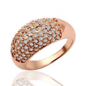 Пръстен за дами с,съчетание на 18 карата розово златно покритие и бели австрийски кристали. Изискани дамски бижута от  бижутерия Iziskani.com. Код: PS90.