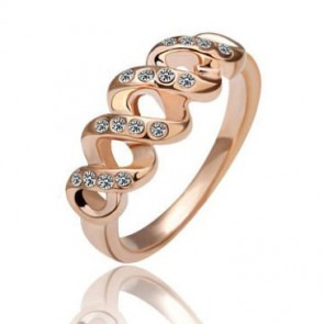 Нежен дамски пръстен с австрийски кристали и розово златно покритие
