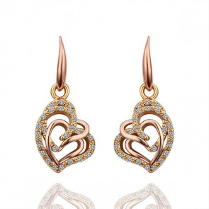 Висящи дамски обеци с австрийски кристали и златно покритие