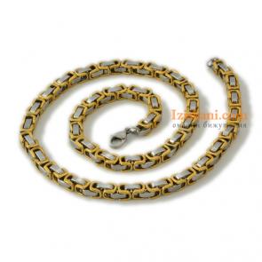 Мъжки ланец с цвят сребро и жълто злато от медицинска стомана клас 316L