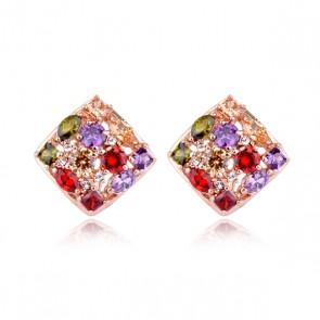Дамски обеци с многоцветни кристали циркон и розово златно покритие