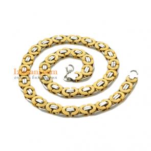 Масивен мъжки ланец с цвят сребро и жълто злато от медицинска стомана клас 316L