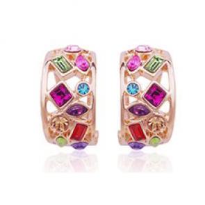 Дамски обеци с многоцветни австрийски кристали и розово златно покритие