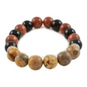 "гривна с eстествени камъни ""слънчев камък,""тигрово око"" и  ""оникс"". Код:SB23."