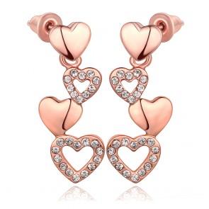 """Дамски обеци """"Две сърца в едно"""" с розово златно покритие"""
