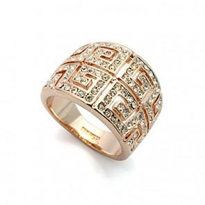 """Дамски пръстен """"Слънце в Очите"""" с австрийски кристали и розово златно покритие"""