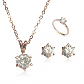 Комплект дамски бижута, колие, обеци и пръстен с бял циркон и розово златно покритие